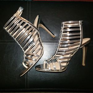 Christian Siriano Cagged Strappy Silver Heels 7.5